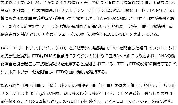 TAS-102が切除不能大腸癌対象に承認獲得
