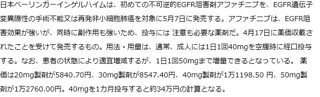 PEGFR遺伝子変異陽性肺癌対象にアファチニブが5月7日発売
