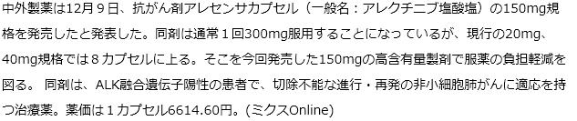 中外製薬 抗がん剤アレセンサの150mg発売