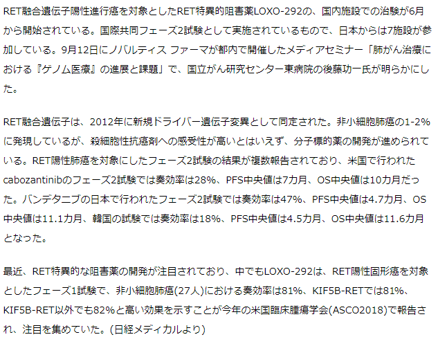 RET特異的阻害薬LOXO-292の日本での治験が開始