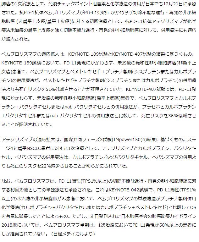 肺癌の1次治療での免疫チェックポイント阻害薬と化学療法の併用が日本でも承認
