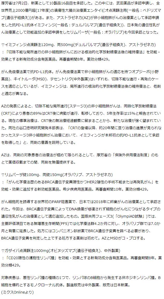 厚労省 新薬10製品を承認 武田の潰瘍性大腸炎薬エンタイビオ、AZの抗PD-L1抗体イミフィンジなど