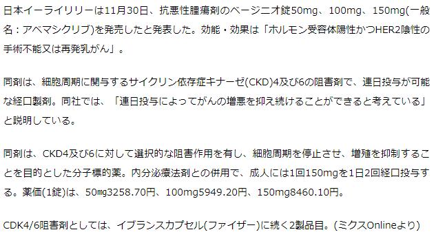 日本リリー 再発乳がん治療薬ベージニオ錠を発売 CKD4/6阻害剤