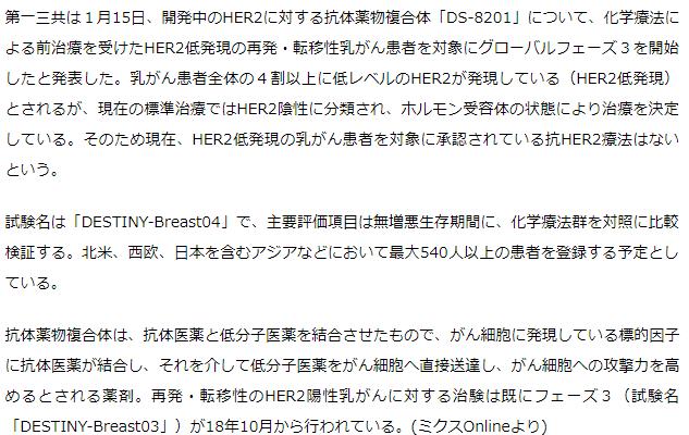 第一三共 HER2低発現乳がんで「DS-8201」のフェーズ3開始