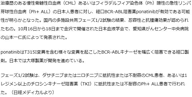 急性リンパ芽球性白血病の日本人患者に対し、経口BCR-ABL阻害薬ponatinibが有効である可能性