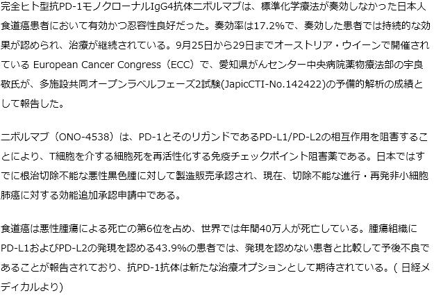 ニボルマブは、予後不良の日本人食道癌患者において新たな治療オプションとして期待