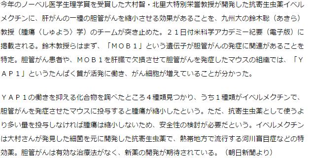 大村さん開発のイベルメクチン、胆管がんに効果