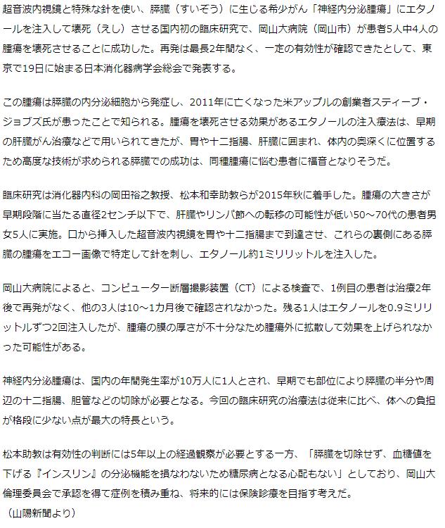 膵臓希少がん壊死 臨床研究で成果 岡山大病院、最長2年再発なし